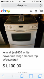 JENN AIR jes9800 white downdraft range with smooth top