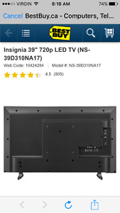 "39"" 720p LED Insignia TV"