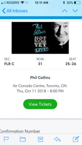 Pair of Phil Collins tickets Oct 11  -Center floors - $500 each