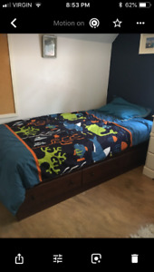 Child bed with like new mattress