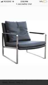 Pair of genuine leather grey 'zara' style armchairs