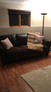 Big brown leather couch