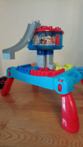 Mega Blocks with Play Table and Paw Patrol Lookout