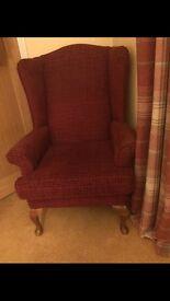 Queen Ann winged fireside chair sitting room lounge snug