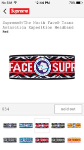 Supreme X North Face Headband