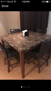 Full high top granite dining room table! 4 chairs  Cambridge Kitchener Area image 1