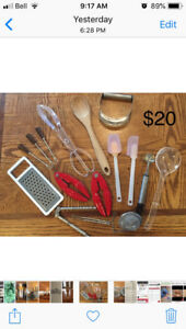 17 various kitchen utensils. Price lowered to $10