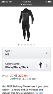 O'Neill wetsuit Men's  Black large/tall never worn