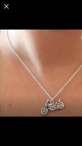 "New motorcycle charm necklace 16 "" sterling silver"