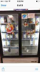 6 big shelves, commercial freezer, hairstylist station