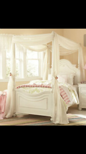 Children's Canopy Bed For Sale with Box Spring & Mattress