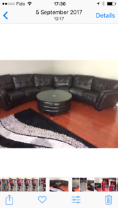 All leather black Sectional