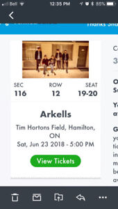 Arkells Ticket - Section 116, Row 12, Seat 19