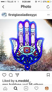 Beautiful hamsa stained glass