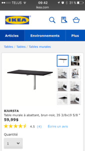table murale à abattant ikea