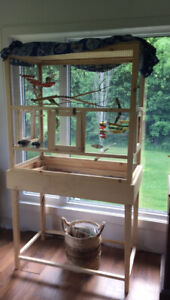 Beautiful hand crafted Aviary and 4 budgies under 1 yr old