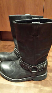 Harley Davidson Black Leather Motorcycle Boots- Men's 8.5 - New!