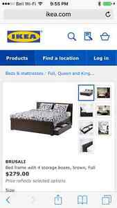 Expresso IKEA double bed with drawers and firm foam mattress