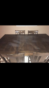 Wooden pub table and 6 chairs