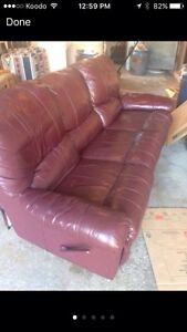 Leather recliner couch
