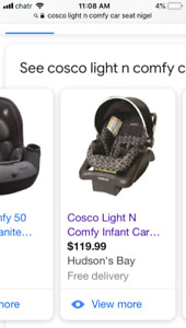 Cosco infant car seat, base & car seat cover