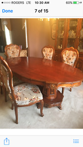 Cherry Hutch, table & 6 chairs