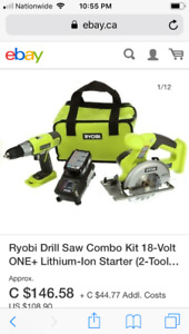 Ryobi drill and saw combo kit with charger and 18v lithium
