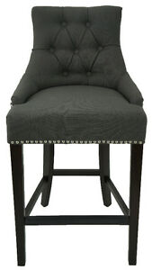 2 3 4 Tufted BarStool n Counter Stool in Charcoal Linen Fabric