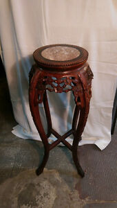 ROSEWOOD PEDESTAL WITH MARBLE # 2