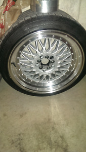 18x9 5x100/ 5x120. Offset of +35. BBS RS reps w/rubber