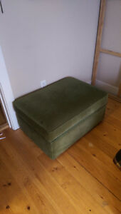 Green Suede Ottoman with Storage