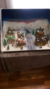 Christmas Village Backdrop with lights