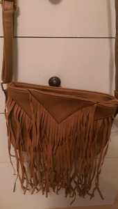 Fringed purse with adjustable strap