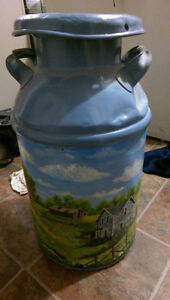 Hand painted antique milk can Strathcona County Edmonton Area image 1