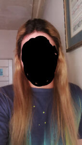 Human hair lace front wig. 20 inches dark blonde black roots.