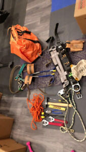 lineman tools and climbing spurs/ belt with straps