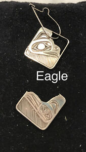 Silver Haida Gwaii Aboriginal Eagle Earrings