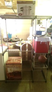 Free standing hanging rack and shelves