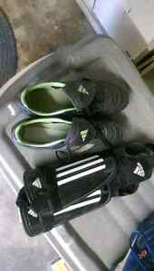 Girl soccer shoes size 9 with shin pads