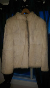 White fur Jacket with tan leather zipper cover