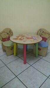"""""""Winnie the Pooh"""" child/toddler wood round Table and Chairs"""