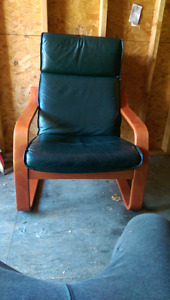 Leather Armchair Living Room Chair . GOOD condition.  smoke
