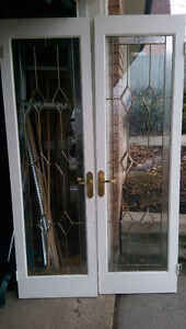 French Doors leaded bevelled decorative glass with hardware