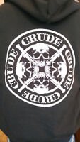 Crude Apparel T-shirts and Hoodies available in various sizes
