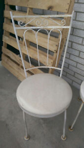 (2) High quality Vintage Cast Iron Chairs WHITE