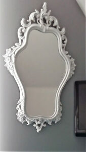 Gorgeous Mirror FOR A PRINCESS!  Carved White Frame 19x29""