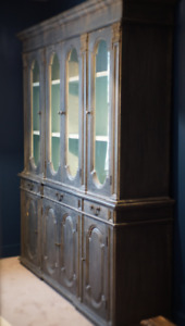 antique style wood and glass cabinet / bookcase