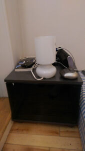SMALL BEDSIDE TABLE + LAMP
