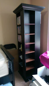 Revolving Media Tower w/Adjustable Shelves - Real Wood