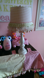 Little girl's lamp with matching curtain